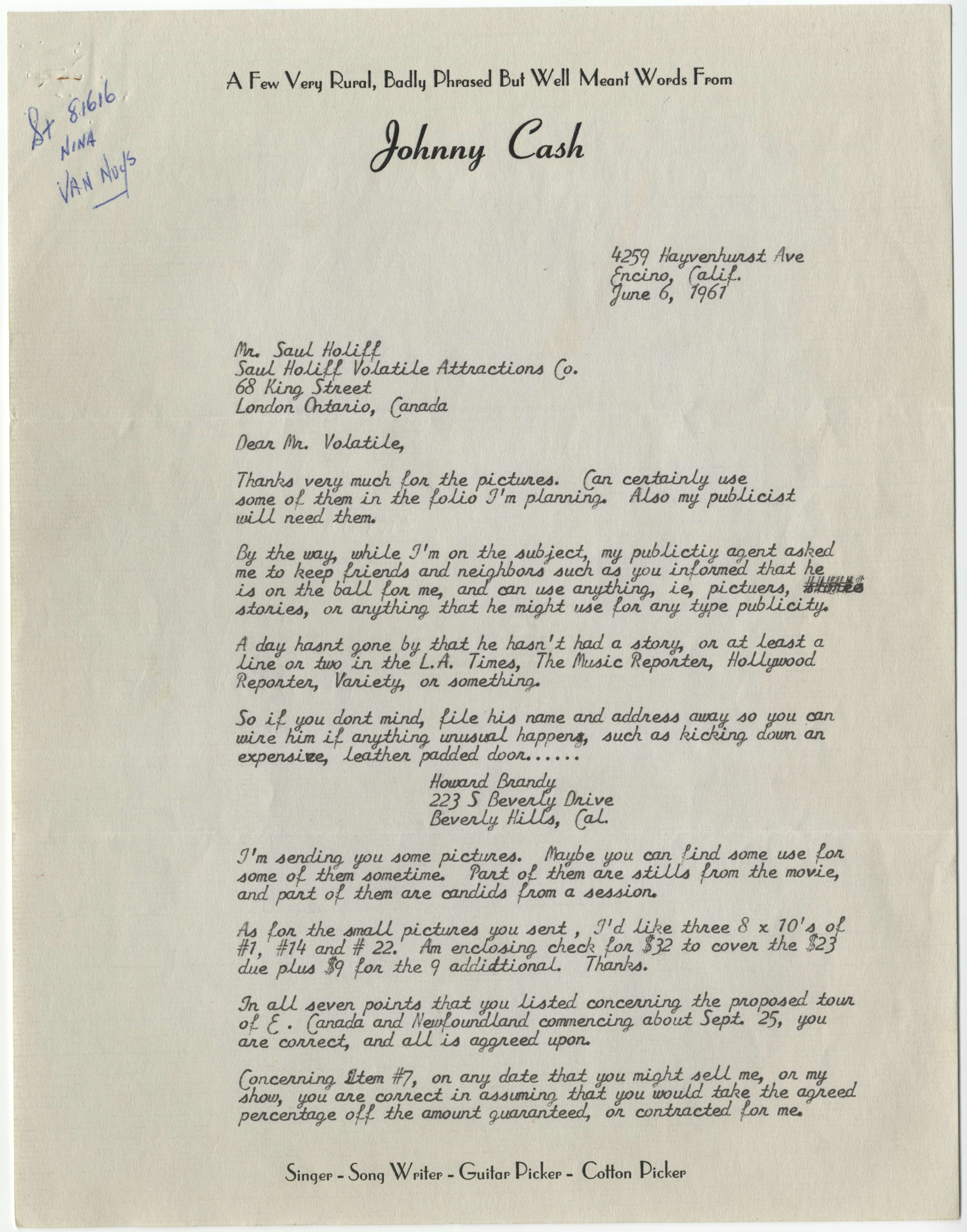 letter from johnny cash to saul holiff 6 june 1961 volatile