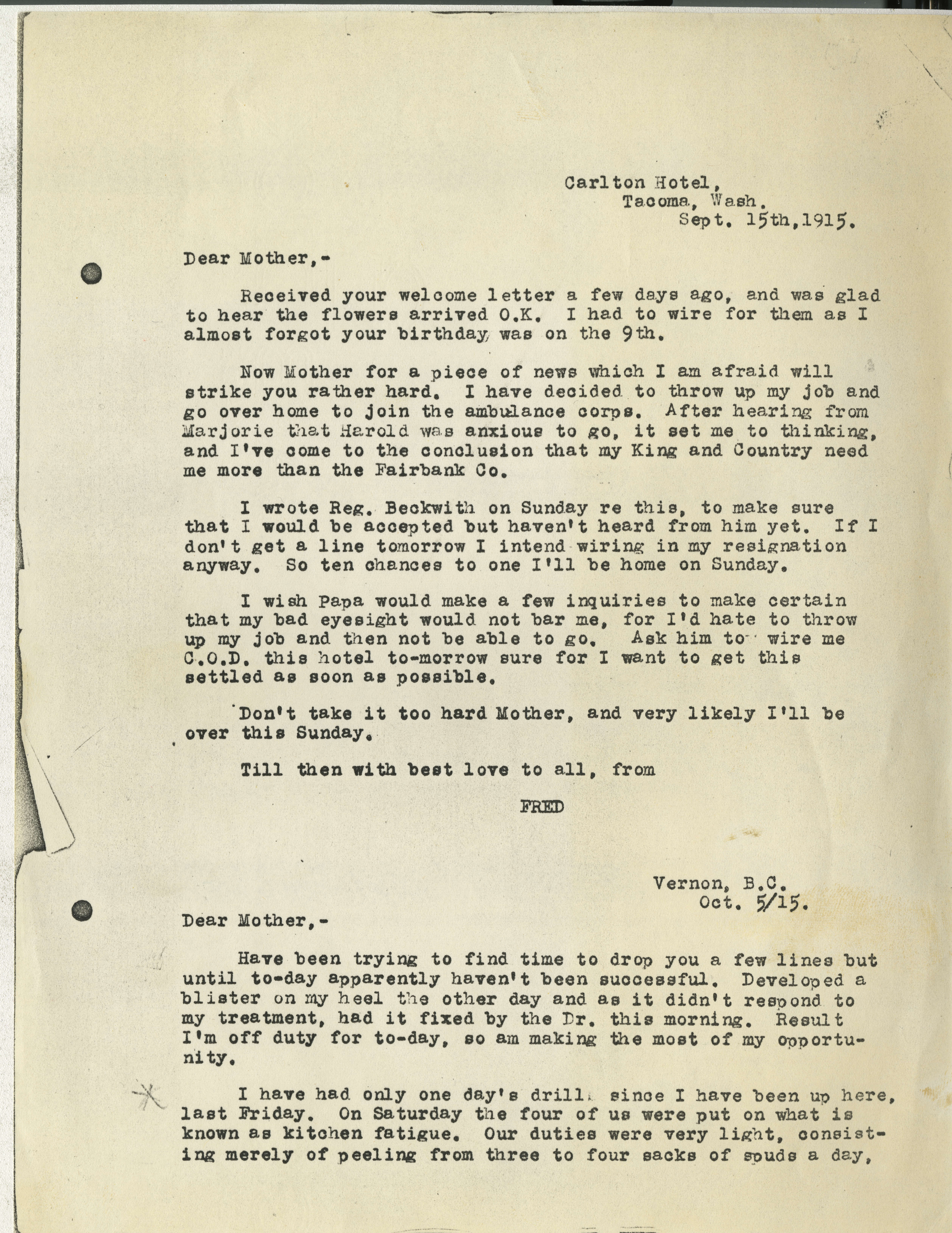 Frederick Carne Wwi Letters Victoria To Vimy Uvic Exhibits No Color Code Wiring Light Fixture Additionally Geneva 18 Foyer Download Page