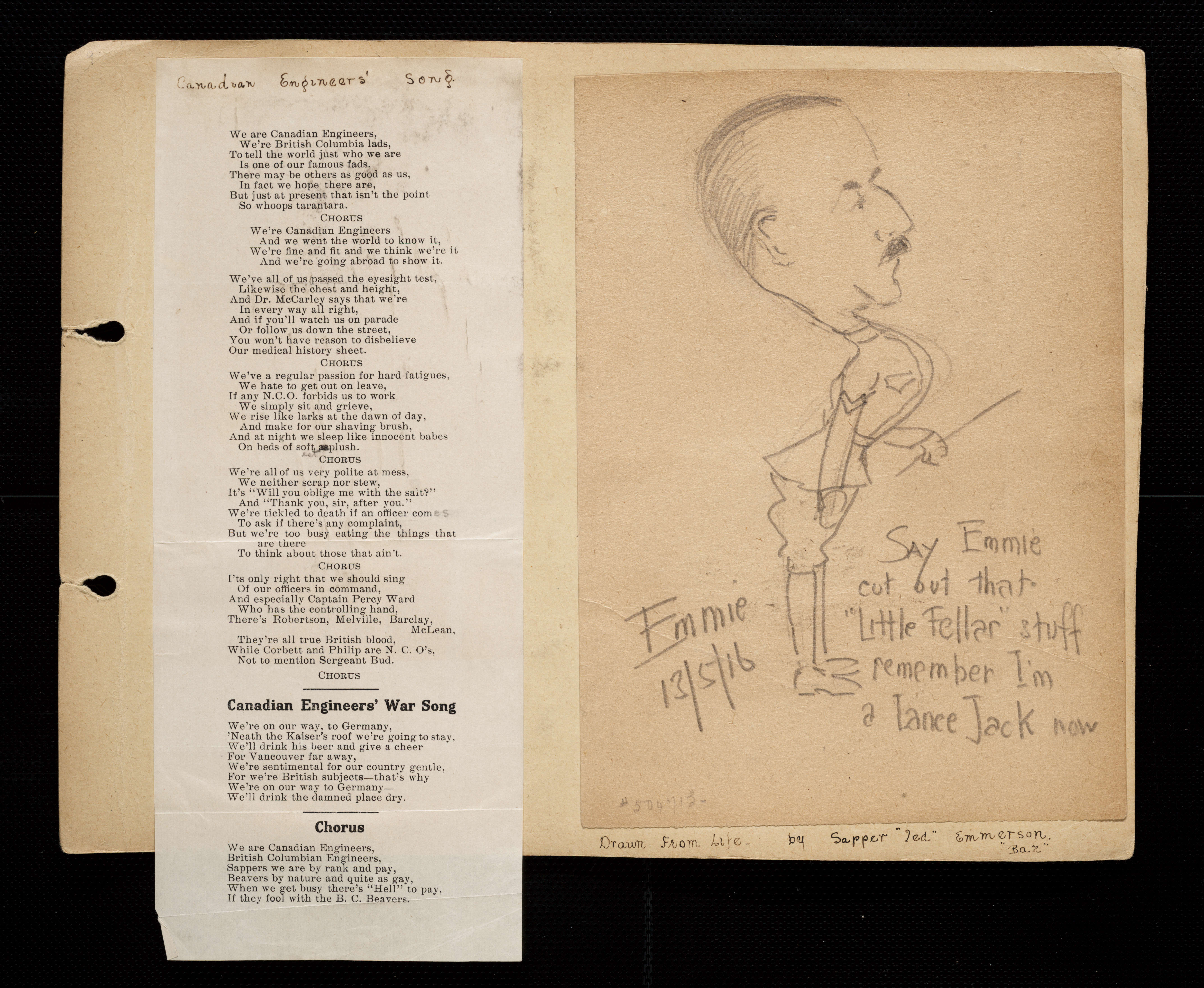 Florence westman first world war scrapbook victoria to vimy uvic description 2nd image of page 9 showing unfolded page of song lyrics subjects world war 1914 1918 westman florence m world war stopboris Images